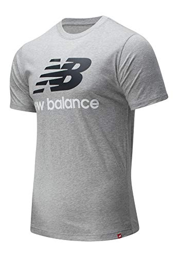 New Balance Essentials Stacked Logo T-Shirt, Athletic Grey, S Mens