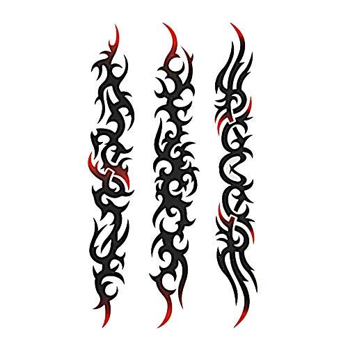 Chic-Net Klebetattoo Tribal diverse Muster länglich schwarz rot Motive 1 Bogen