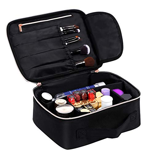 Travel Makeup Bag Cosmetic Case - Portable Makeup Organizer Case with Adjustable Dividers Travel Storage Bag for Cosmetics Makeup Brushes Toiletry Travel Accessories, Cometic Bag of BEAUTYBOX(Black)