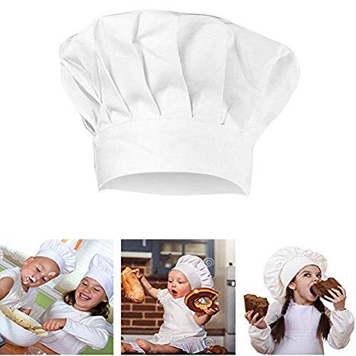 Kentop Kochmütze Weißer Koch- Hut Chefkoch Kopfbedeckung Unisex Größenverstellbarem für Kinder