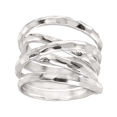 Silpada 'Wrapped Up' Overlapping Textured Band Ring in Sterling Silver, Size 8, Size 8