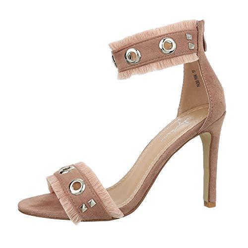 Ital Design Damenschuhe Sandalen & Sandaletten High Heel Sandaletten Synthetik Altrosa Gr. 38