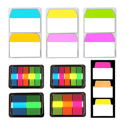 All-in-One Sticky Tabs 480 Pieces with 3 Sets of 2-inch Index Tabs, 4 Sets of Page Markers and 1 Set of 1.4-inch Sticky Tabs, Repositionable Index Tabs for Folders, Binders, Notes, Books and Documents