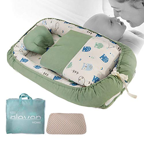 Best Deals! Xingouchen Baby Nest for Cute Folding Bed Baby Lounger for Bed, 100% Soft Cotton Portabl...