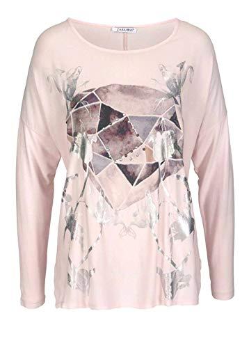 Zabaione Damen-Blusenshirt, Langarm, mit Print und Nieten, rosa, Gr. XL (42)