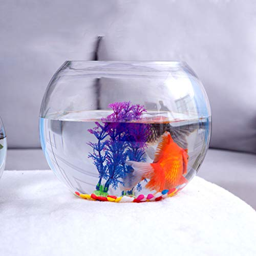 Goudvis tank Transparant glas Vaas Ronde hydrocultuur Aquarium kwallen tank Mini aquarium Woonkamer desktop schildpad tank,20cm