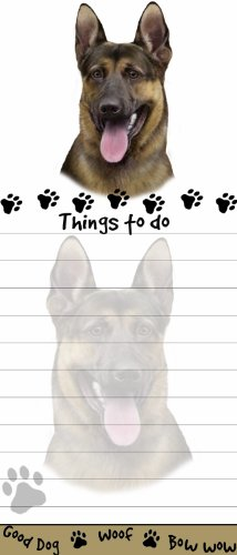 'German Shepherd Magnetic List Pads' Uniquely Shaped Sticky Notepad Measures 8.5 by 3.5 Inches