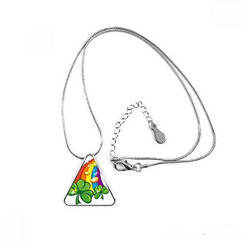 DIYthinker Trébol de Cuatro Hojas Adhesivos Irlanda día de San Patricio Triángulo Forma Colgante Collar Joyas con Cadena decoración Regalo