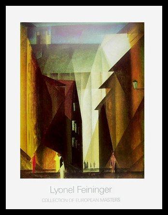 Germanposters Lyonel Feininger Barfuesserkirche I Poster Kunstdruck Bild im Alu Rahmen in schwarz 90x70cm