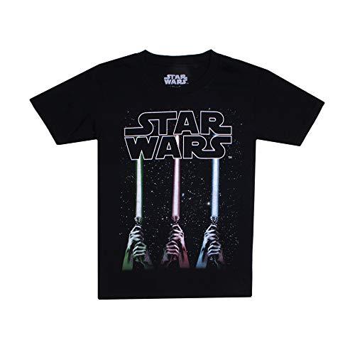Star Wars Jungen Lightsabers T-Shirt, Schwarz (Black Blk), 9-10 Jahre
