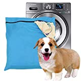 Pet Laundry Bag, Blue Filters Pet Hair Petwear Wash Bag for Washing Machine with YKK Zip for Pet Bedding Blankets Towels (Large)
