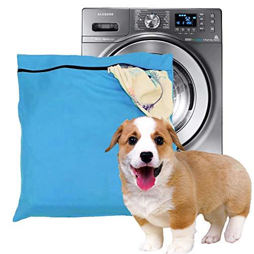 Petwear Wäschebeutel,Haustier-Wäschesack, blaue Filter, Haustierhaare, Haustierwäsche, Waschbeutel für Waschmaschine mit YKK-Reißverschluss für Haustier-Bettwäsche, Decken, Handtücher, Large