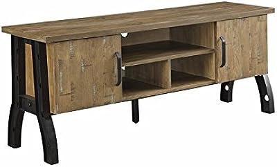 """Furniture of America Dreden Industrial 60"""" TV Stand in Rustic Oak"""
