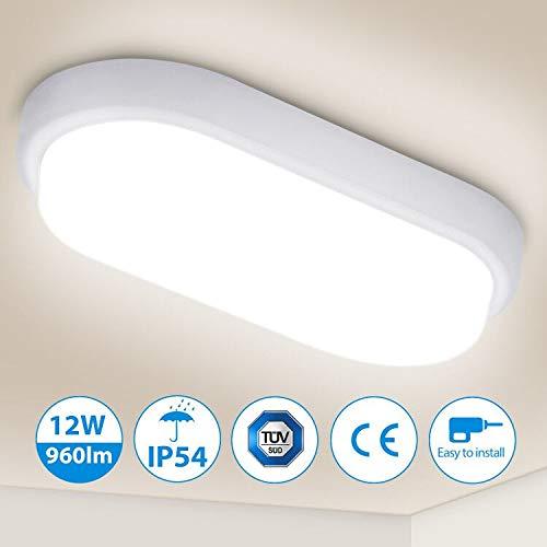 Oeegoo 12W LED Deckenleuchte Bad, IP54 Wasserfest Feuchtraumleuchte 960lm led Badezimmerlampe, Flimmerfreie Deckenlampe Wandleuchte für Keller, Diele, Flur, Balkon, Werkstatt, 4000K