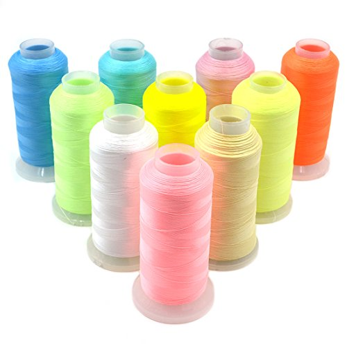 AngelaKerry 3000 Yards Spool Glow in The Dark Machine Embroidery Sewing Thread Polyester New(All Colour in one Package)