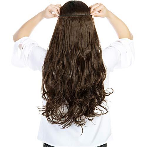 Clip en forma de V extensiones de cabello 3/4 completo grueso rizado ondulado clip en extensiones de pelo sintético con 4 clips