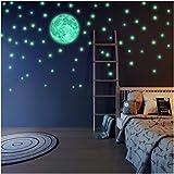 220 Stelle luminose e luna fluorescente - autoadesivo - Adesivo da parete con lungo lumino...