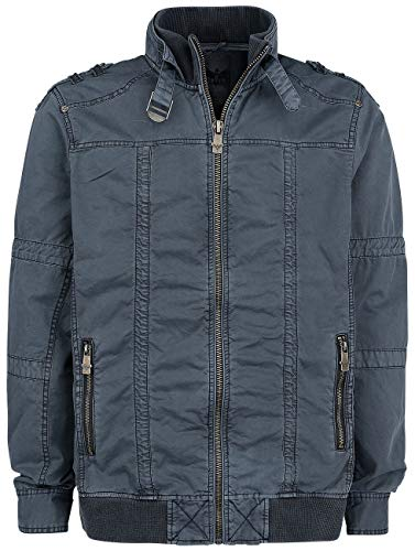 Black Premium by EMP Ready to Run Homme Veste mi-Saison Gris Bleu S, 100% Coton,