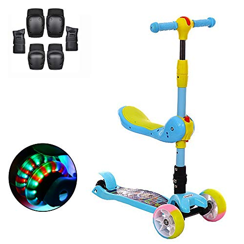 YGBH Kinder Tretroller 3-Rad-Scooter mit Gravity Lenk Removable Adjustable Seat 3 Höhen Griffe Luminous PU-Rad Faltbare Geeignet für Kinder im Alter von 2-12 Unterstützung 130 Lbs