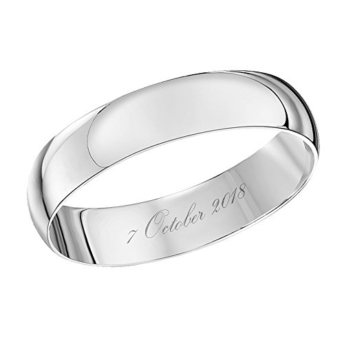 Theia Unisex 9 ct White Gold, Heavy D Shape, Engraved 07 October 2018, Polished, 4 mm Wedding Ring - Size T