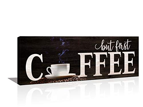 KuyiArt Motivational Wall Art Canvas Prints But First Coffee Decor Sign Rustic Picture Painting for Office Kitchen Home Dinning Room Wall Decoration