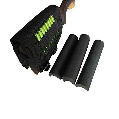 TOURBON Hunting Shooting Right Side Rifle Cartridge Holder Buttstock Cheek Rest -Black