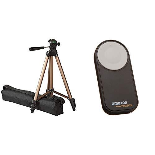 Amazon Basics – Trípode Ligero para cámara con Funda, de 41,91 a 127cm + Disparador inalámbrico para Canon EOS 650D / 600D / 550D/ 500D / 400D / 350D / 5D Mark II / 7D, Color Negro
