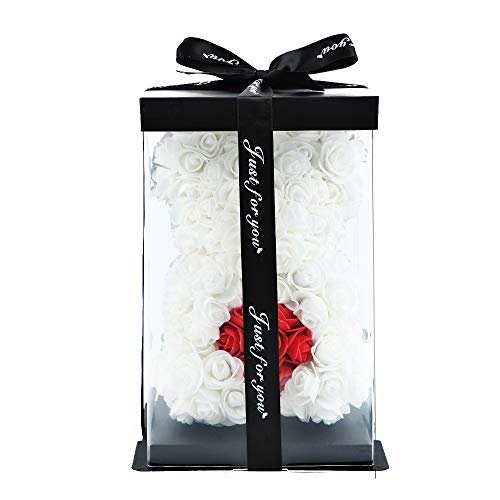 ZS-Juyi Rose Flower Bear -10 Inches Tall -Over 200+ Flowers on Rose Bear Lovely Heart - Propose,Anniversary's, Birthdays, Bridal Showers,Valentine's Day,Mothers - Clear Gift Box Included (White)