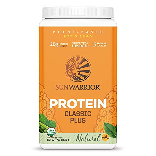 Sunwarrior - Classic Plus, Vegan Protein Powder with Peas & Brown Rice, Raw Organic Plant Based Protein (30, Natural)