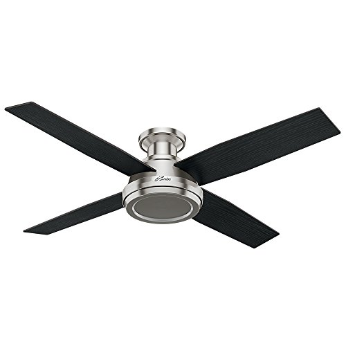 """Hunter Fan Company 59247 Dempsey Indoor Low Profile Ceiling Fan with Remote Control, 52"""", Brushed Nickel Finish"""
