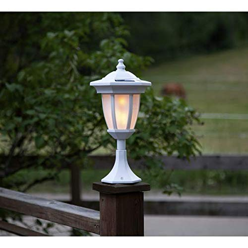 Kamaca LED Solar 4 in 1 Laterne Dancing Flame mit Flammen Effekt inklusive 4 Modi : SOLAR Wegeleuchte Tischleuchte Wandleuchte Gartenlaterne mit 24 LED (4 Funktionen - Weiss)