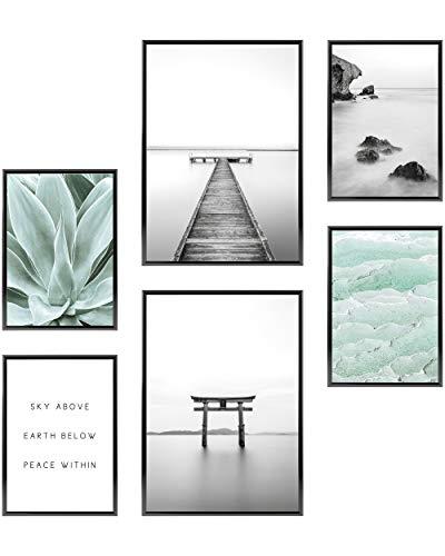 Heimlich Set di Stampe da Parete - Senza Cornici - Decorazioni da Muro per Soggiorno, Camera da Letto e Cucina - Poster Abbinati - 2 x A3 & 4 x A4-30x42 & 21x30 | » Gratefullness Yoga «