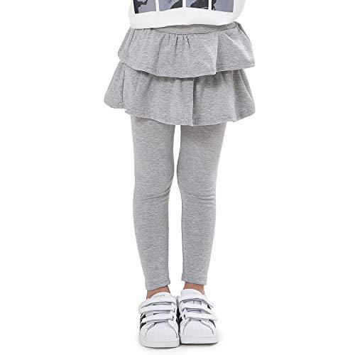 Adorel Leggings con Falda Pantalones Largos para Niñas Gris Claro 6-7 Años (Tamaño del Fabricante 130)