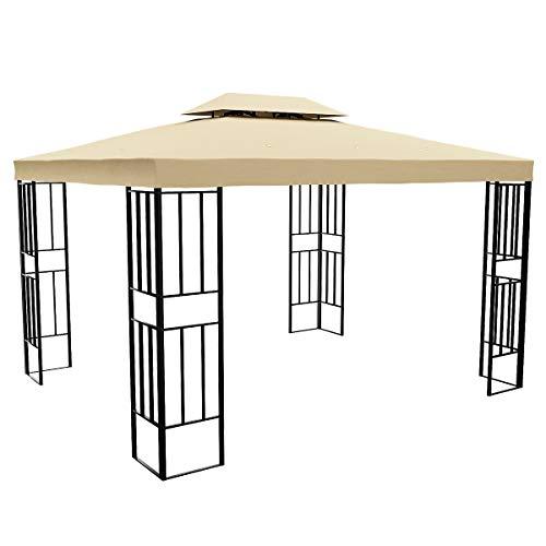 YITAHOME - Cenador de jardín con doble techo con marco de acero para patio, patio, patio, cubierta, barbacoa (3 x 3,7 m)