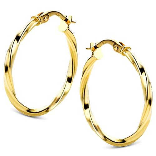 Orovi Damen Ohrringe Gelbgold Creolen 14 Karat (585) Gold