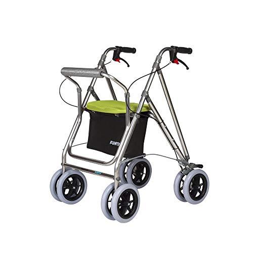 Andador para ancianos | Rollator de aluminio | Andador on frenos y asiento | De aluminio plegable | Color pistacho