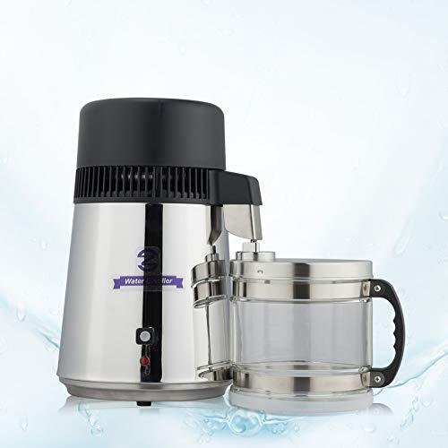 Valens Destilador de Agua 4L Purificador de Agua Domestico 750W Máquina de Agua Destilada con Jarra de Filtro Destilador de Agua Pura con Botella Recolectora (Plata)