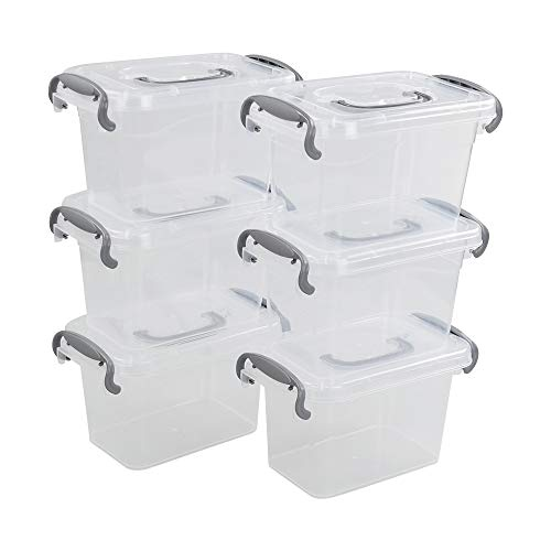 Dehouse Clear Plastic BinsBoxes with Gray Handle Mini Plastic Storage Box Organizer 6-Pack 15 Liter