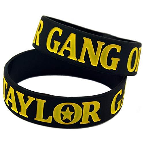YLH Pulsera cuadrilla De Taylor O Die Música De Banda De Pulsera De Hiphop Suave Muñeca De Silicona (Color : Black)