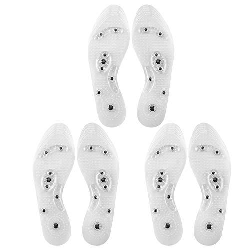 Qkurt Terapia magnetica plantari plantari, 3Pair Digitopressione solette Traspirante Anti-sudore Massaggio del piede Scarpa-Pad per donne e uomini