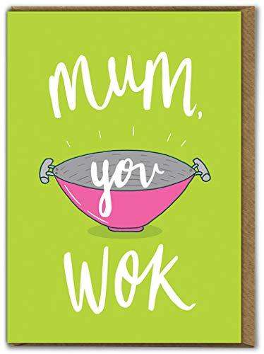 Grappige Moederdagkaart | Verjaardagskaarten Moeder | Humoristische grap | 'Mum You Wok' door Brainbox Candy
