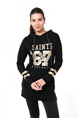 Ultra Game NFL New Orleans Saints Womenss Tunic Hoodie Pullover Sweatshirt Terry, Team Color, Medium