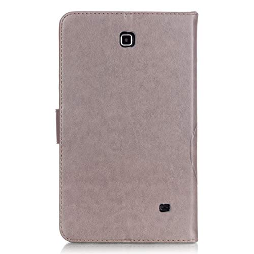 UUcover Schutzhülle für Samsung Galaxy Tab 4 7.0 (geprägtes Kunstleder, Schmetterlings- und Blumen-Design) mit Magnetverschluss und Standfunktion, Galaxy tab 4 7.0 T230, T230 Gray