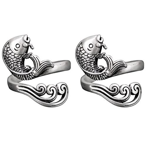 Anillo abierto giratorio, 2 unidades, anillo de meditación Koi, como un pez en el agua, buena suerte y buenos deseos para mujeres y hombres