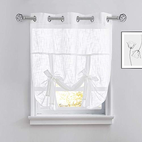 PONY DANCE Tie Up Shade - Linen Look Semi-Sheer Tie Blind for Small Windows Curtain Valance Balloon Decorative Panel for Kitchen, 42 inches x 45 inches, White, 1 Piece