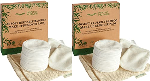 Proto Future Reusable Makeup Remover Pads – 20 Organic Bamboo Pads with 2 Gloves and 2 Cotton Mesh Bags. Washable, Ecofriendly and Zero Waste… (Pack of 2)