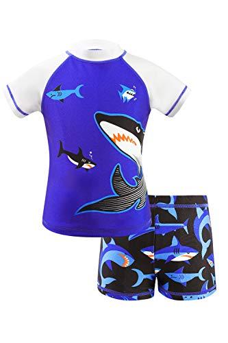 Traje de natación para niños, diseño de tiburón Hawaiano de Dos Piezas en la Parte Superior Pantalones Cortos, Ropa de Playa Azul