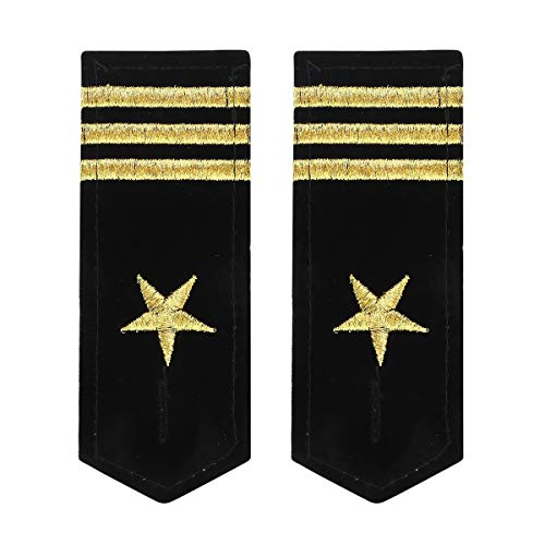dPois Erwachsene Traditionale Uniform Schulterklappen Epaulette mit besticktem Stern und Linie Kapitän Pilot Kostüm Zubehör Typ A 3 Striche