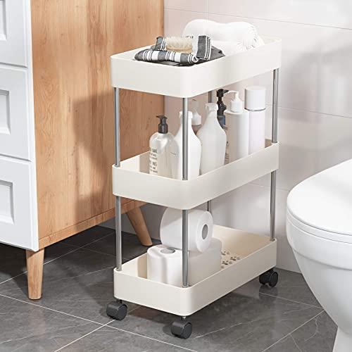 UDEAR Estante de pie, carrito con ruedas, baño, lavadero y cocina, lugar estrecho, 3 niveles, color blanco