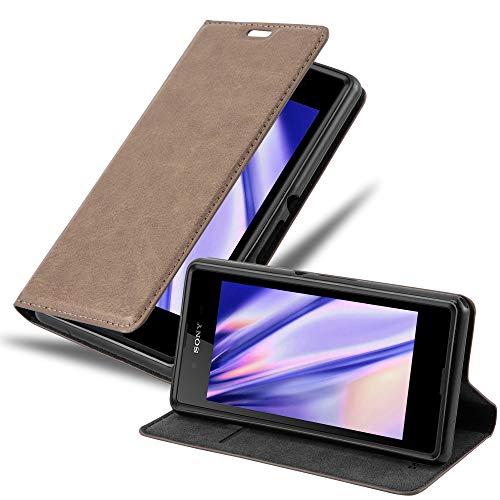 Cadorabo Hülle für Sony Xperia E3 - Hülle in Kaffee BRAUN – Handyhülle mit Magnetverschluss, Standfunktion & Kartenfach - Hülle Cover Schutzhülle Etui Tasche Book Klapp Style